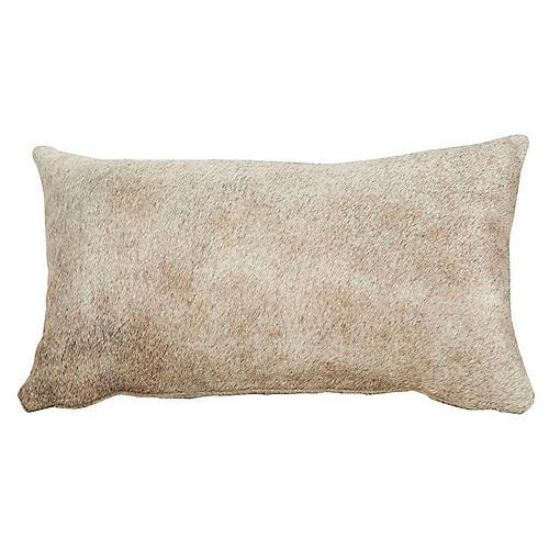 Full-Panel 13x22 Hide Pillow, Gray/Tan