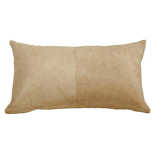 Four-Panel 13x22 Hide Pillow, Beige
