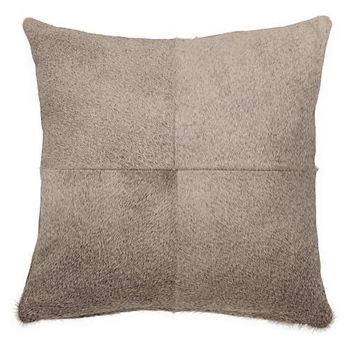 Four-Panel Hide Pillow, Gray