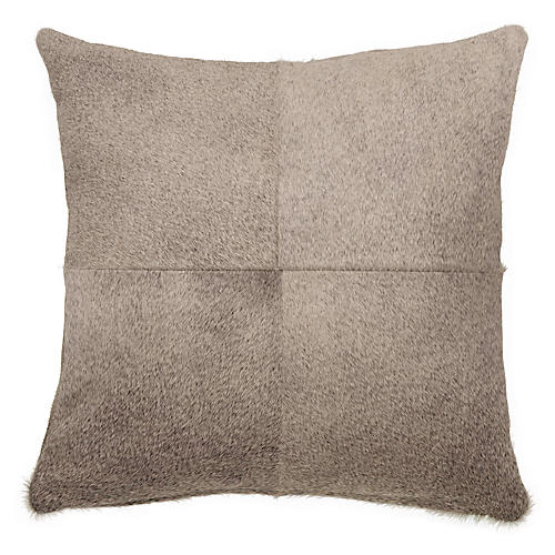 Four-Panel Hide Pillow, Gray