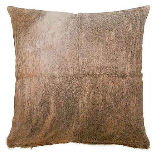 Four-Panel Hide Pillow, Brindle