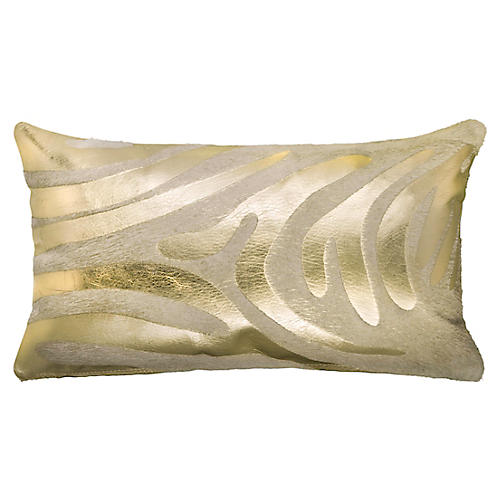 Devore Zebra 13x22 Pillow, Gold/White
