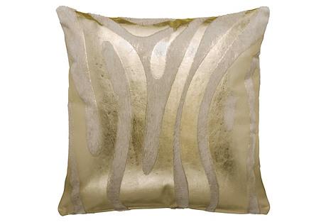 Devore Zebra Pillow, Gold/White