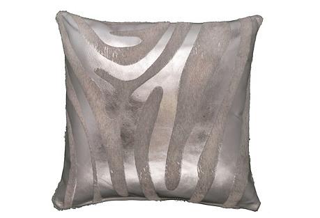 Devore Zebra Pillow, Silver/White