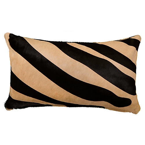 Zebra 13x22 Pillow, Black/Beige