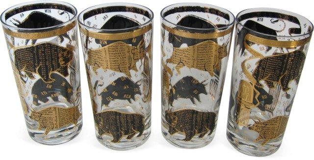 Stock Market Glasses, Set of 4