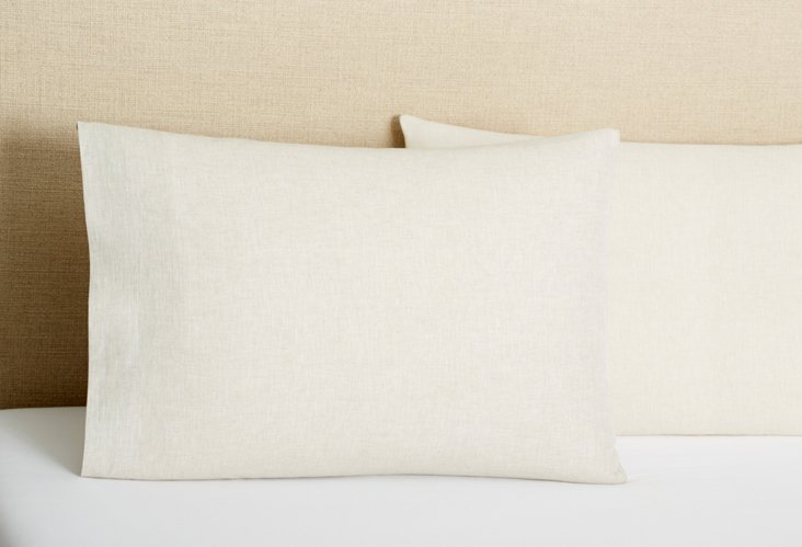 Paola Italian Linen Pillowcase, Flax
