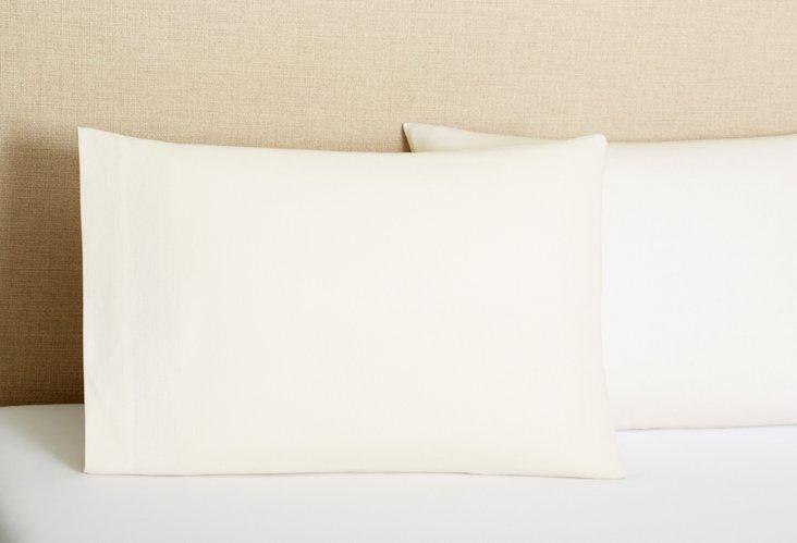 Paola Italian Linen Pillowcase, Ivory