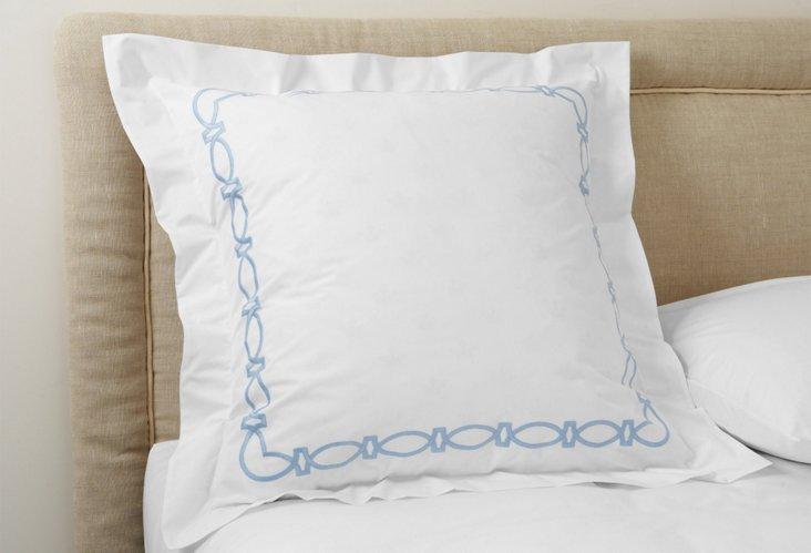 Maxwell Euro Sham, White/Blue