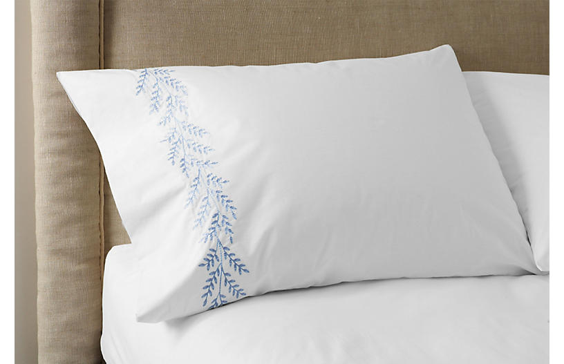 S/2 Willow Pillowcases, White/Blue