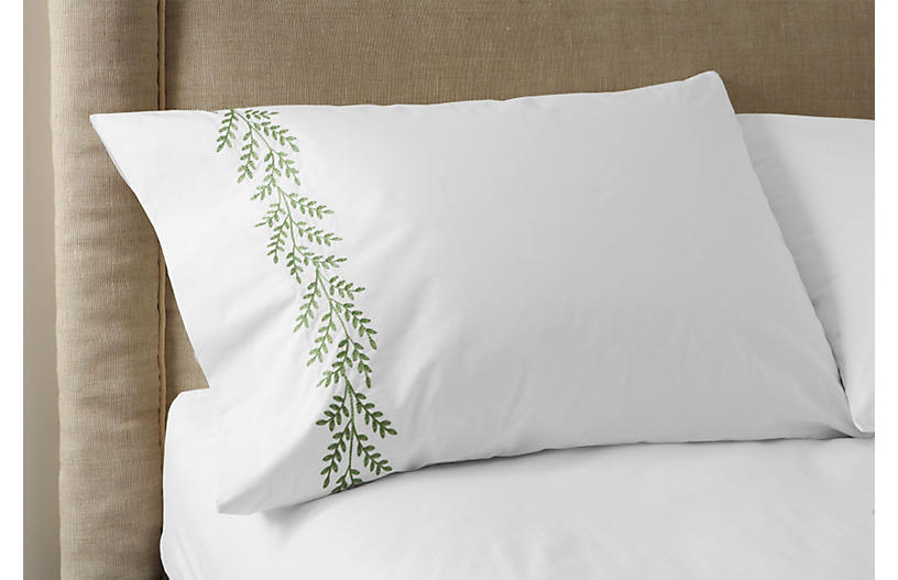 S/2 Willow Pillowcases, White/Green