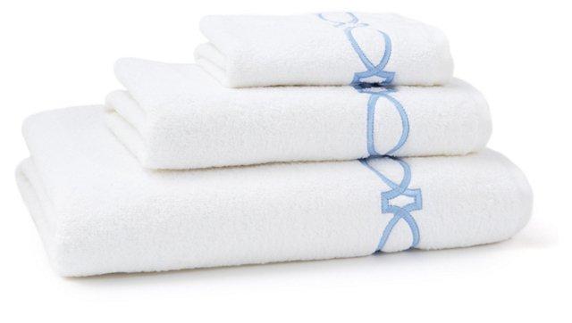 3-Pc Maxwell Towel Set, White/Blue