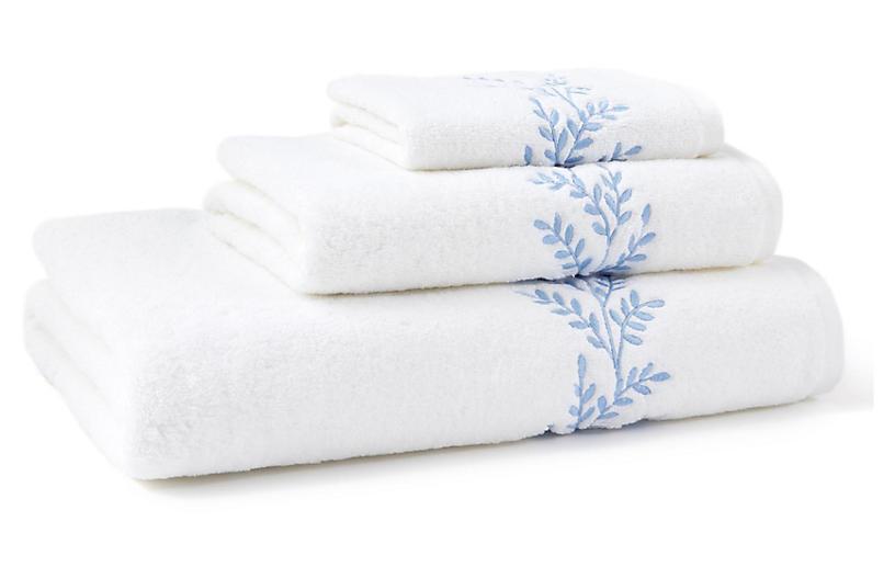 3-Pc Willow Towel Set, Blue