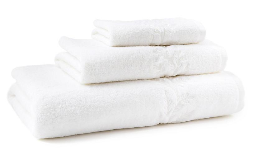 3-Pc Willow Towel Set, White