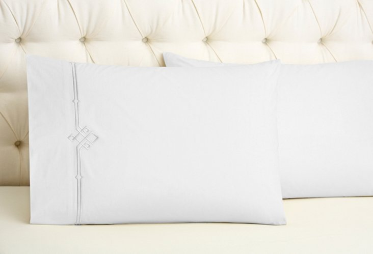 S/2 Square Knot Kg Pillowcases, Wh/Gray