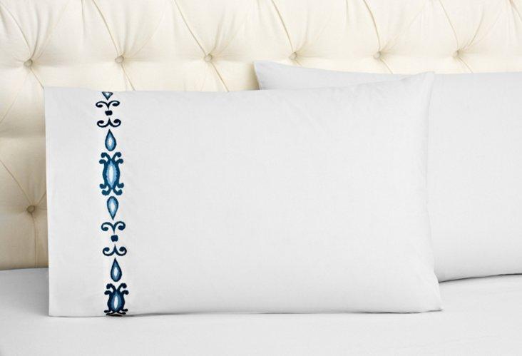 S/2 Ikat Pillowcases, White/Indigo
