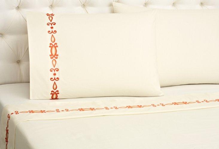 King Ikat Sheet Set, Ivory/Orange