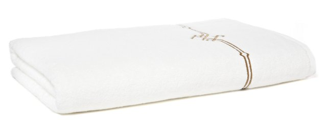Square Knot Bath Sheet, White/Taupe