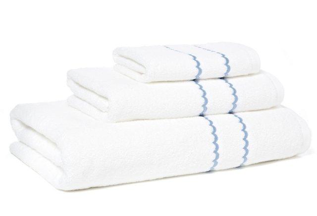 3-Pc Double Scallop Towel Set, Blue