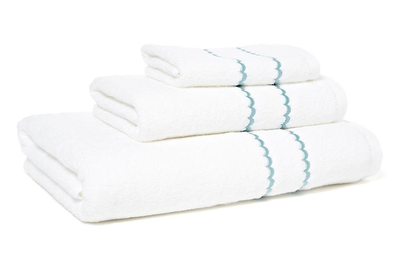 3-Pc Double Scallop Towel Set, Teal
