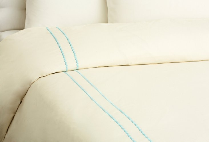 Queen Double Scallop Duvet, Ivory/Teal