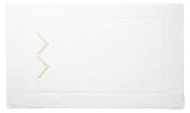 Rick Rack Bath Mat,  Ivory/Seashell
