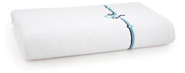 Square Knot Bath Sheet, Navy/Turq