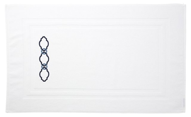 Roman Key Bath Mat, Navy/Slate Blue