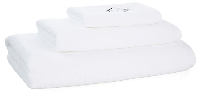 3-Pc Diamond Monogram Towel Set, Black