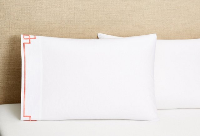 S/2 Fretwork Pillowcases,  Coral