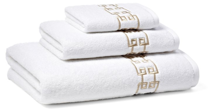 3-Pc Fretwork Towel Set, Seashell