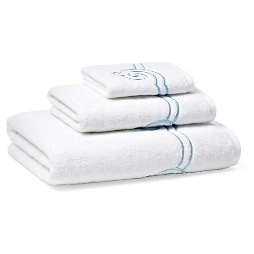 3-Pc Serenity Towel Set, Cadet Blue