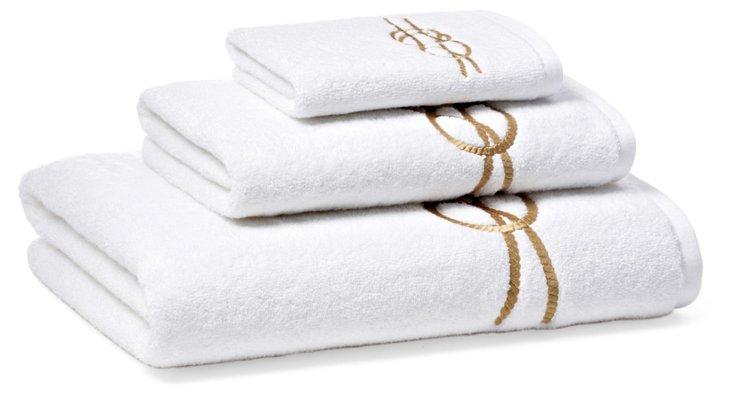 3-Pc Nautical Knot Towel Set, Golden Tan