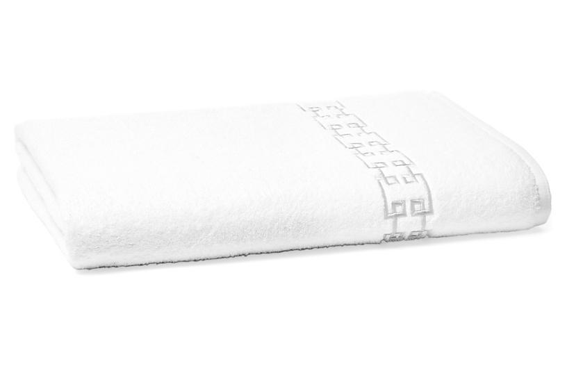 Fretwork Bath Sheet, White