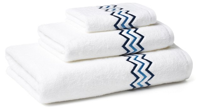 3-Pc Zigzag Towel Set, Blue