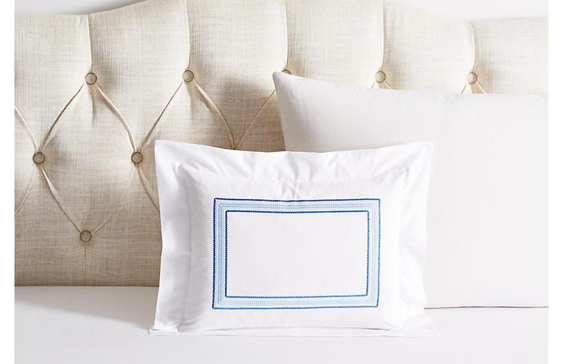 Ashton Boudoir Sham, White/Blue