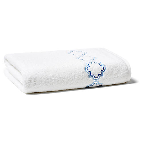 Quatrefoil Bath Sheet, Blue