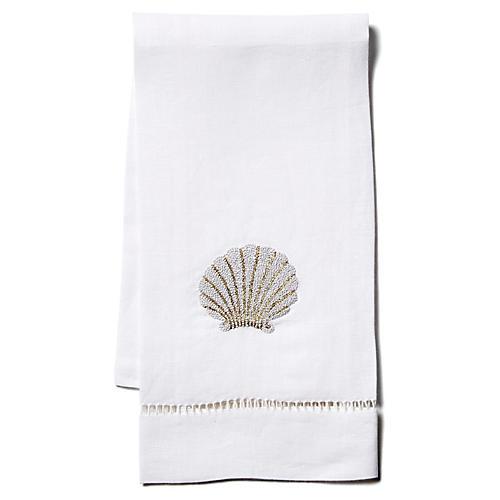Scallop Shell Linen Guest Towel