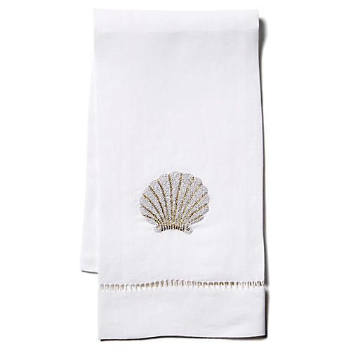 Scallop Shell Linen Guest Towel