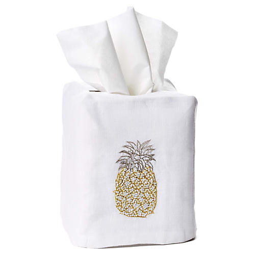 Pineapple Linen Tissue-Box Cover