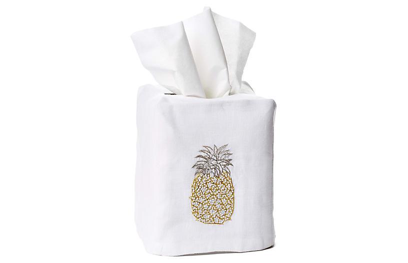 Pineapple Linen Tissue-Box Cover