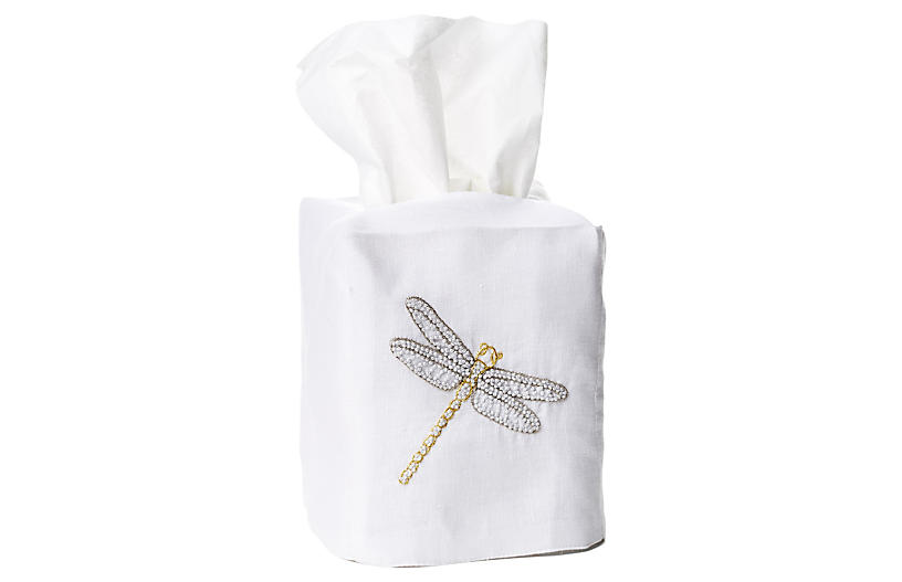 Dragonfly Linen Tissue Box Cover