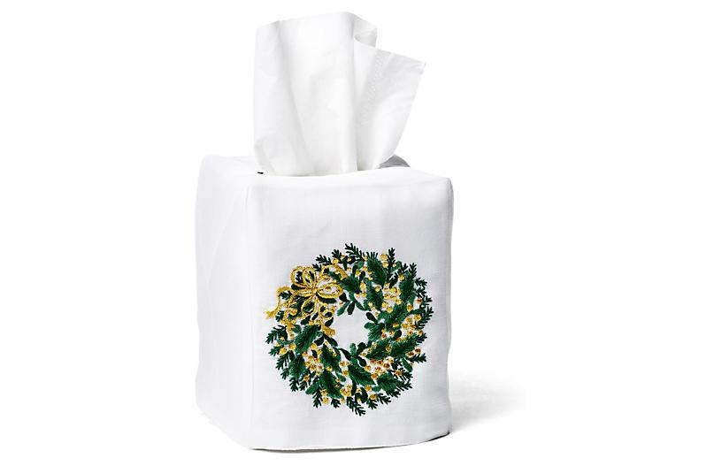 Evergreen Wreath Linen Tissue Box