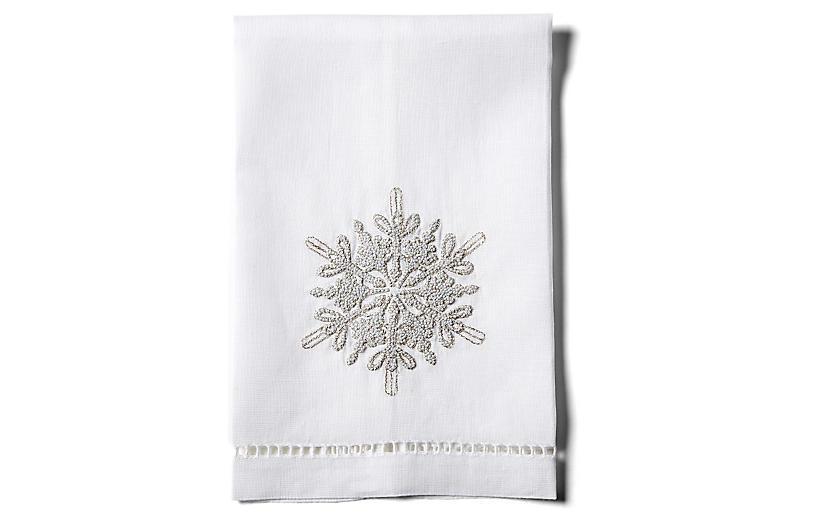 Snowflake Linen Guest Towel, White