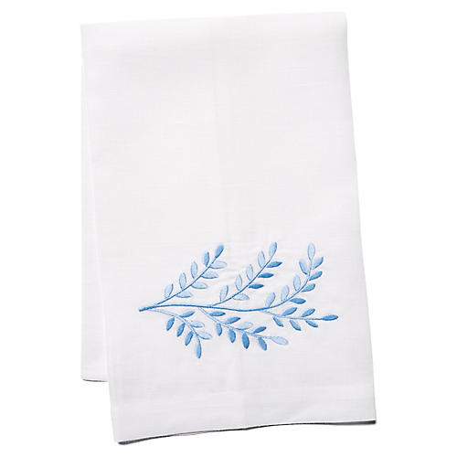 Willow Linen Guest Towel, Blue