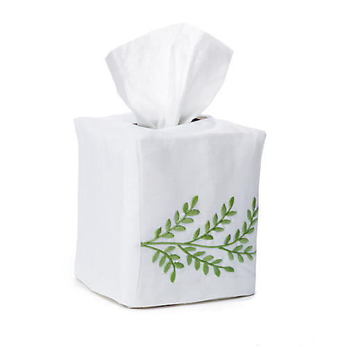 Willow Tissue Box Cover, Green