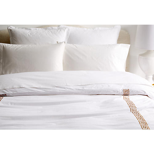 Greek Key Duvet, White/Tan