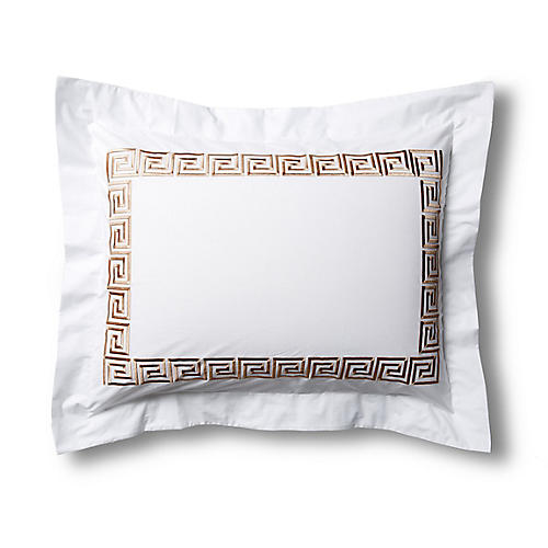Greek Key Sham, White/Tan