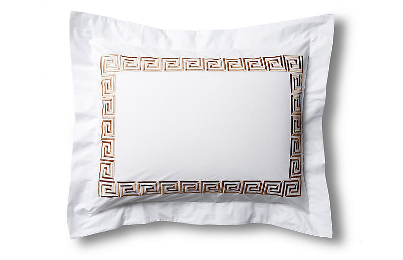 Greek Key Sham, White/Tan