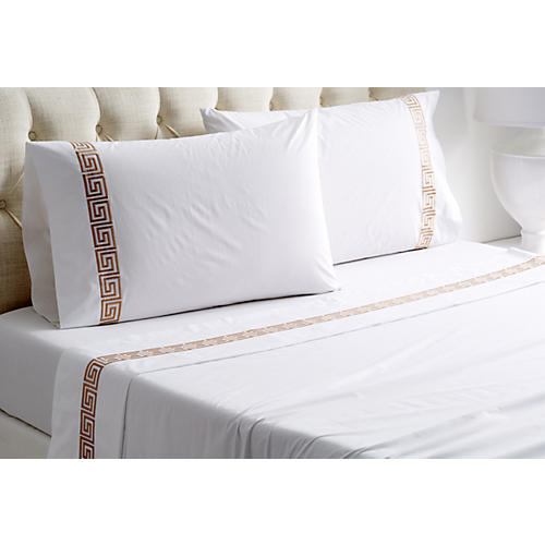 Greek Key Sheet Set, White/Tan